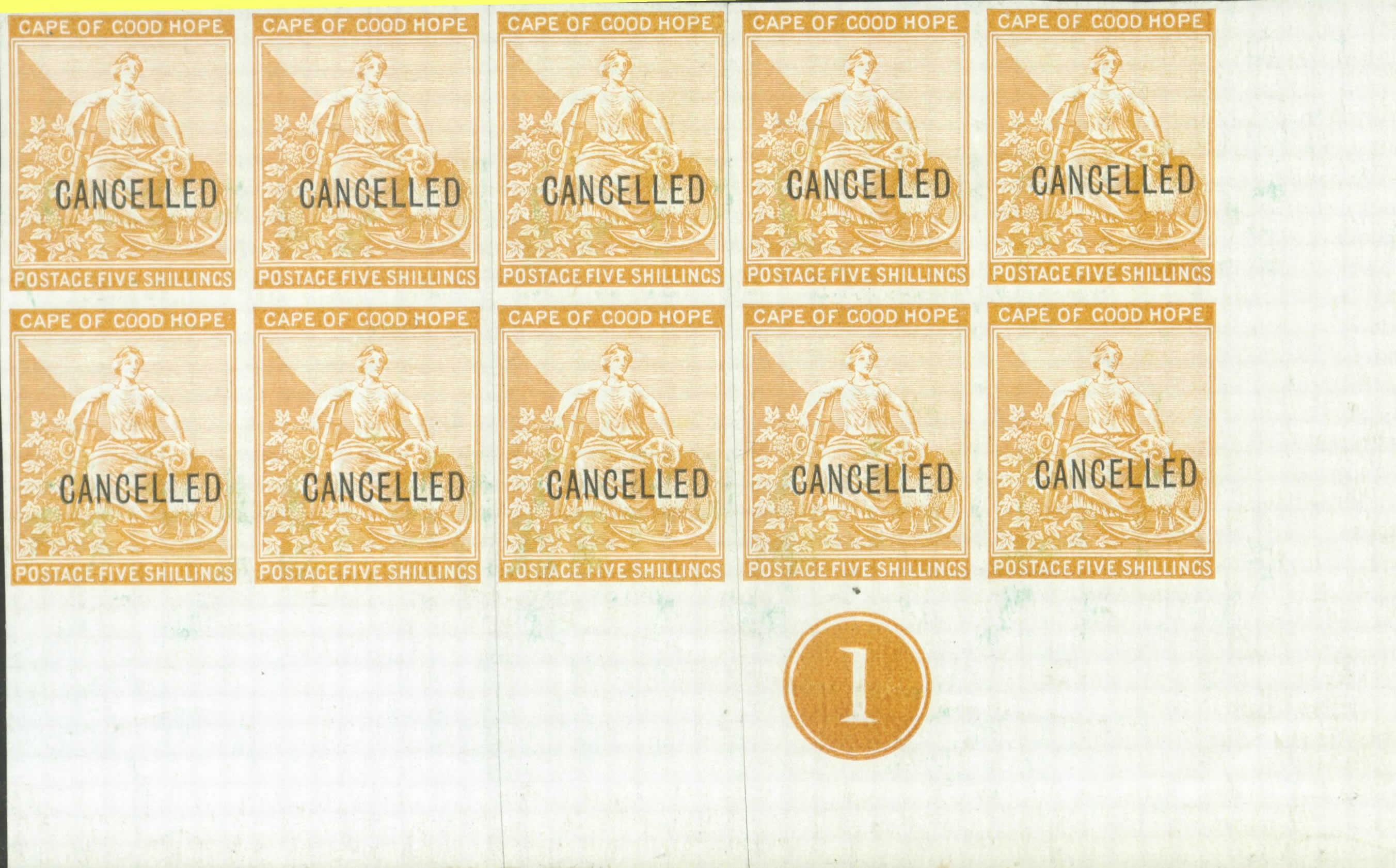 "Printer's Proof of the Five Shillings stamps overprinted ""CANCELLED"""