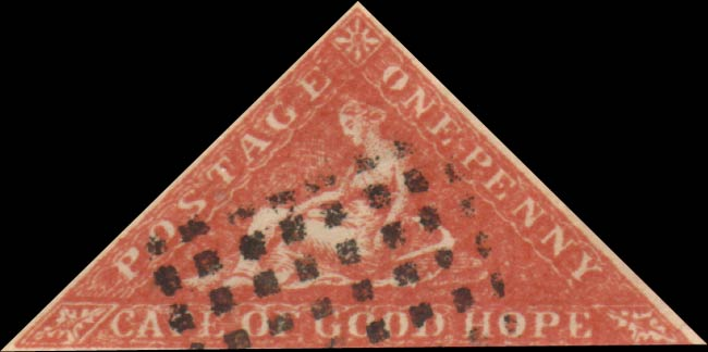 Spiro Cape Triangular Forgery of the One Penny Red Stamps.