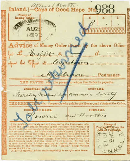 The Money Order Office – Cape of Good Hope Stamps and Postal