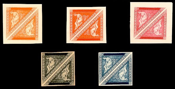 Both 'POSTAGE' and 'VALUE' defaced five pairs showing the value tablets defaced (to varying degrees) printed in dull vermilion, red-orange, carmine-red, indigo and black each with clear to large margins.