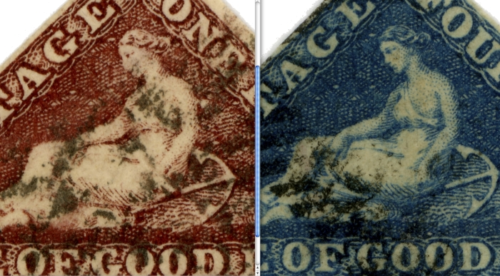 At left is the Perkins Bacon Issue at Right is the De la Rue issue.the most pronounced difference is on the hand and I normally use that feature to distinguish the stamps.